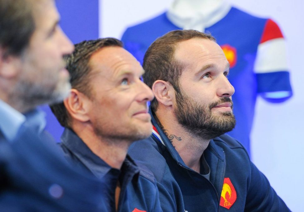 Pierre Henry Beausire, CEO of Le Coq Sportif and Frederic Michalak, former player of french team during a press conference after visiting the fabrications factories of the new Rugby France team jersey on October 30, 2018 in Troyes, France. (Photo by Sandra Ruhaut/Icon Sport)